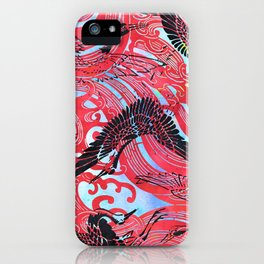 Waves and Cranes Chinoiserie Inspired Wall Art Print | Japanese Katagami Stencil Design in Black, Red iPhone Case