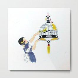 Vintage Canary Birdcage Metal Print