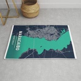 Maracaibo Blue Dark Color City Map Rug