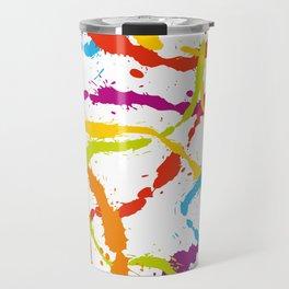 Splattered Rainbow [WHITE] Travel Mug
