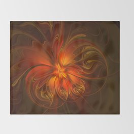 Burning, Abstract Fractal Art With Warmth Throw Blanket