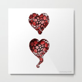 Semicolon Heart Metal Print