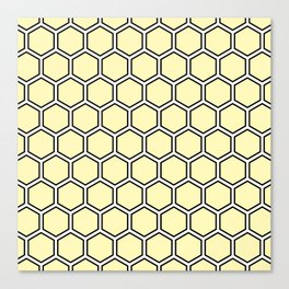 Yellow, white and black hexagonal pattern Canvas Print
