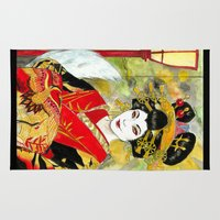 kitsune Area & Throw Rugs featuring Lady Kitsune by Stormwolf Studios