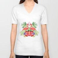 flamingo V-neck T-shirts featuring Flamingo by Kangarui by Rui Stalph