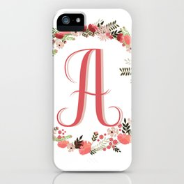 Personal monogram letter 'A' flower wreath iPhone Case