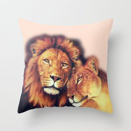 Lions Painting - Soulmates Throw Pillow