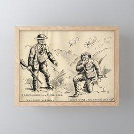 Vintage First World War Art - JM's Sketchbook - Lancashire in a Shell Hole … Prayin' Like 'Ell Framed Mini Art Print