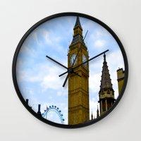 england Wall Clocks featuring London, England by Heather Hartley