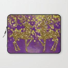 Purple Christmas faux golden glitter deer Laptop Sleeve