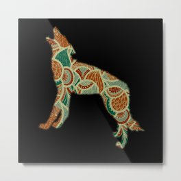 Wolf With Pattern Metal Print