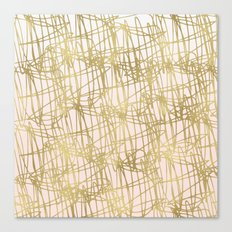 Gold Peach Ombre Squiggle Abstract Canvas Print