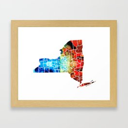 New York - Map By Sharon Cummings Framed Art Print