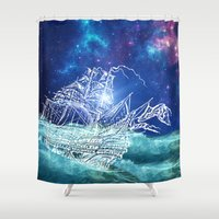 neverland Shower Curtains featuring To Neverland by Cat Milchard