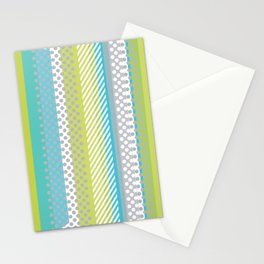 Retro Panels Circles Rectangles Lines Blue Neon Green Stationery Cards