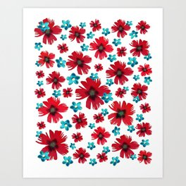 Carnations & Columbines Art Print