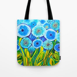 Field of Blue Poppies #1 Tote Bag