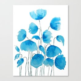 blue poppy field watercolor Canvas Print