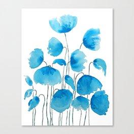 blue poppy field watercolor Canvas Print