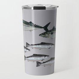 Tuna an Salmon Fish grey Travel Mug