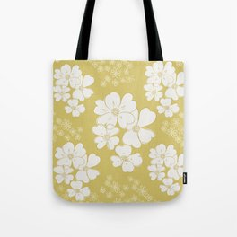 White thoughts on gold Tote Bag