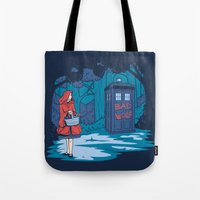hallion Tote Bags featuring Big Bad Wolf by Fanboy30