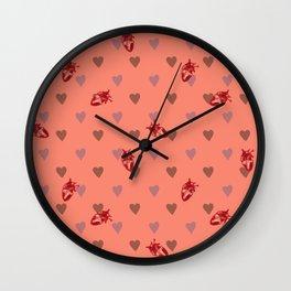 Orange Heart Pattern Wall Clock