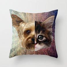 CatDog 2 Throw Pillow