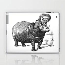 Hippopotamus black and white retro drawing Laptop & iPad Skin