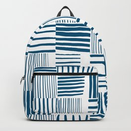 Torn Lines Abstract 03 White Blue Backpack