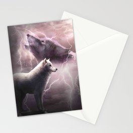 Lightning Wolf Howling At The Moon Stationery Cards