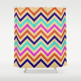 Multicolor Mid Century Chevron Print Shower Curtain