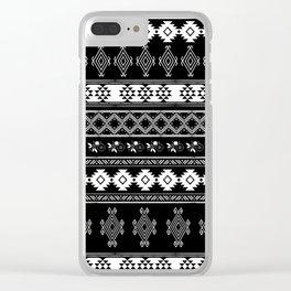 White & Black Primitive Pattern Clear iPhone Case