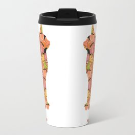 Cat Silhouette With Hibiscus Flowers Inlay Travel Mug