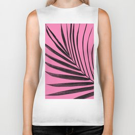 Simple palm leaves with pink Biker Tank