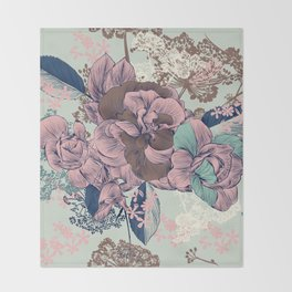 Beautiful pattern design with roses, English Victorian style Throw Blanket