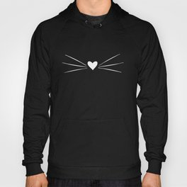 Cat Heart Nose & Whiskers White on Black Hoody