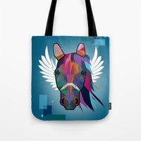horse Tote Bags featuring horse  by mark ashkenazi