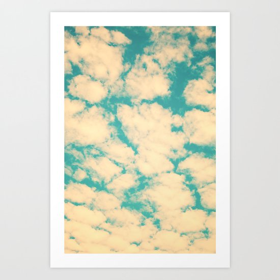 Clouds and Sky (Retro and vintage blue - turquoise sky and clouds) Art Print