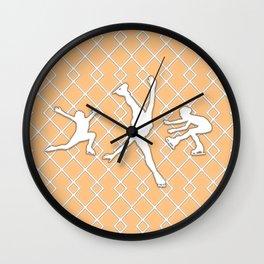 Peach Orange Girls Figure Skating Wall Clock