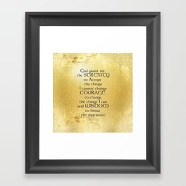 Serenity Prayer Kelt on Yellow Framed Art Print