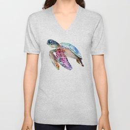 Sea Turtle, swimming turtle art, purple blue design animal art Unisex V-Neck