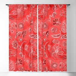 Botanicals in Cherry Red Blackout Curtain