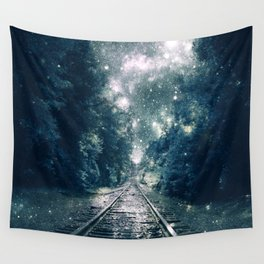 """Dream Train Tracks Teal : """"Next Stop, Anywhere"""" Wall Tapestry"""