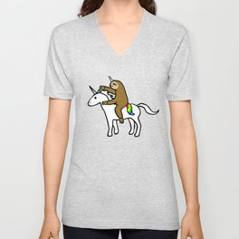 Slothicorn Riding Unicorn Unisex V-Neck
