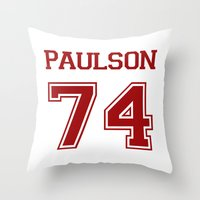 sarah paulson Throw Pillows featuring Sarah Paulson Varsity by NameGame