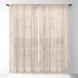 Nude, nudes line drawing/ pattern of female body Sheer Curtain