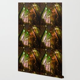 Black Trees Peach Brown Green Space Wallpaper