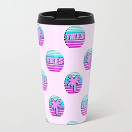 """Vaporwave pattern with palms and words """"yikes"""" #2 Travel Mug"""