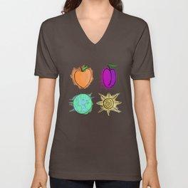 Peach, Plum, Earth, Sun Unisex V-Neck